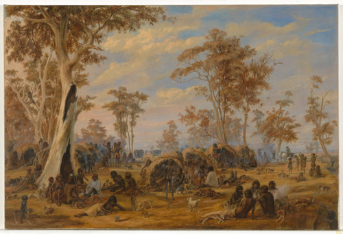 'A  tribe of natives on the banks of the River Torrens' by A Schramm