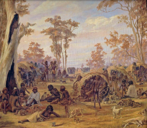 Detail from 'Adelaide, a tribe of natives on the banks of the River Torrens' by Alexander Schramm 1850