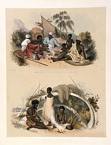 Encampment of native women near Cape Jervis (top) Natives of Encounter bay making cord for fishiing nets (bottom) 1846-7 (National Gallery of Australia 43887)
