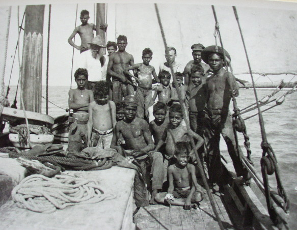 Brothers Kralimann and Contempree with Beagle Bay boys on the lugger