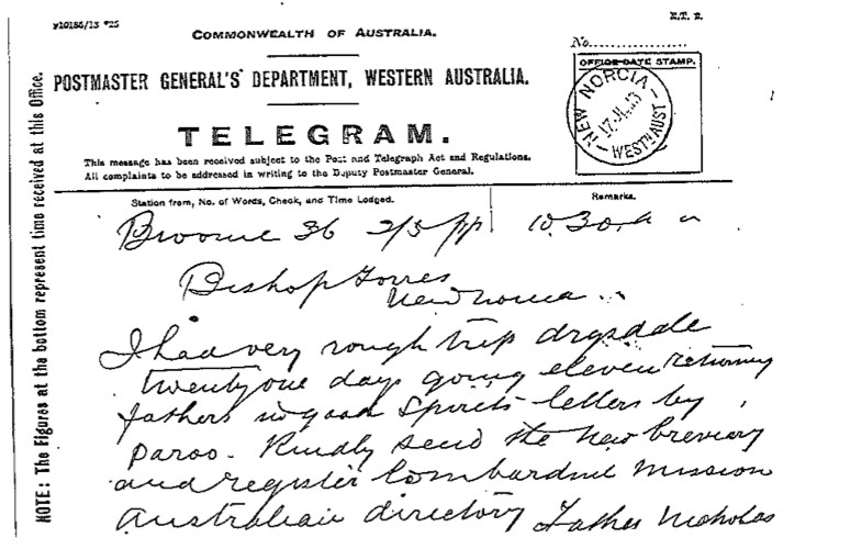 Telegram Emo Torres 17 July 1913