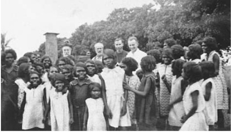 Girls at Bathurst Island Mission Station and Bishop Gsell and Peter McGrath